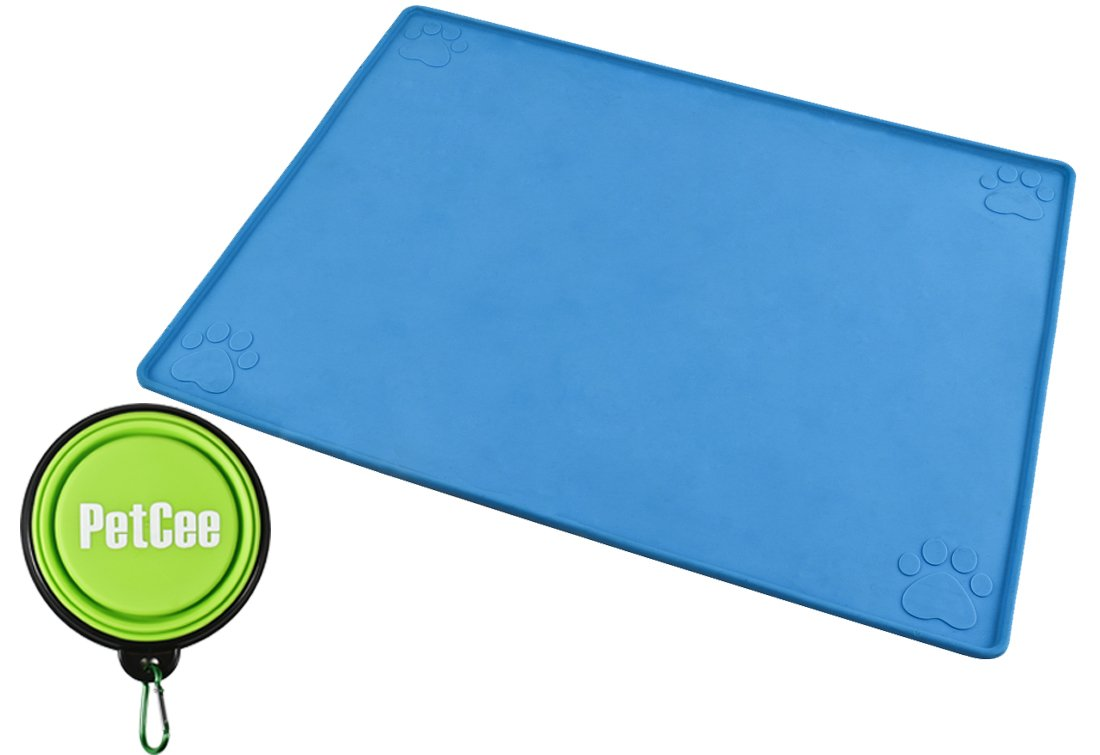PetCee Waterproof Dog Mats for Food Non Slip Thermo-Plastic-Rubber Material W...