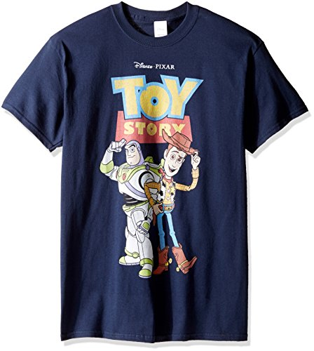 Bo Peep Toy Story Costume - Disney Men's Toy Story Buzz and Woody T-Shirt, Navy, Medium