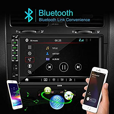 Camecho Double Din Car Stereo with Bluetooth 7'' HD Car Multimedia MP5 Player Touch Screen Digital Display for iOS/Android Phones Mirror Link Build-in Auto Radio FM/AUX/USB/SD Function+Backup Camera: Car Electronics