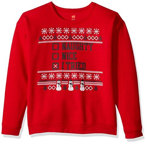Hanes Big Boys' Ugly Christmas Sweatshirt, Best Red/I Tried, Large