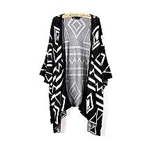 ARJOSA Women's Knitted Geometric 1/2 Sleeve Open Front Cardigan Sweater Wrap Top