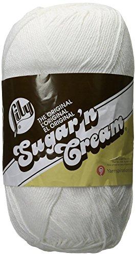 Lily Sugar 'N Cream Big Ball Solid Yarn, 14 Ounce, White, Single Ball