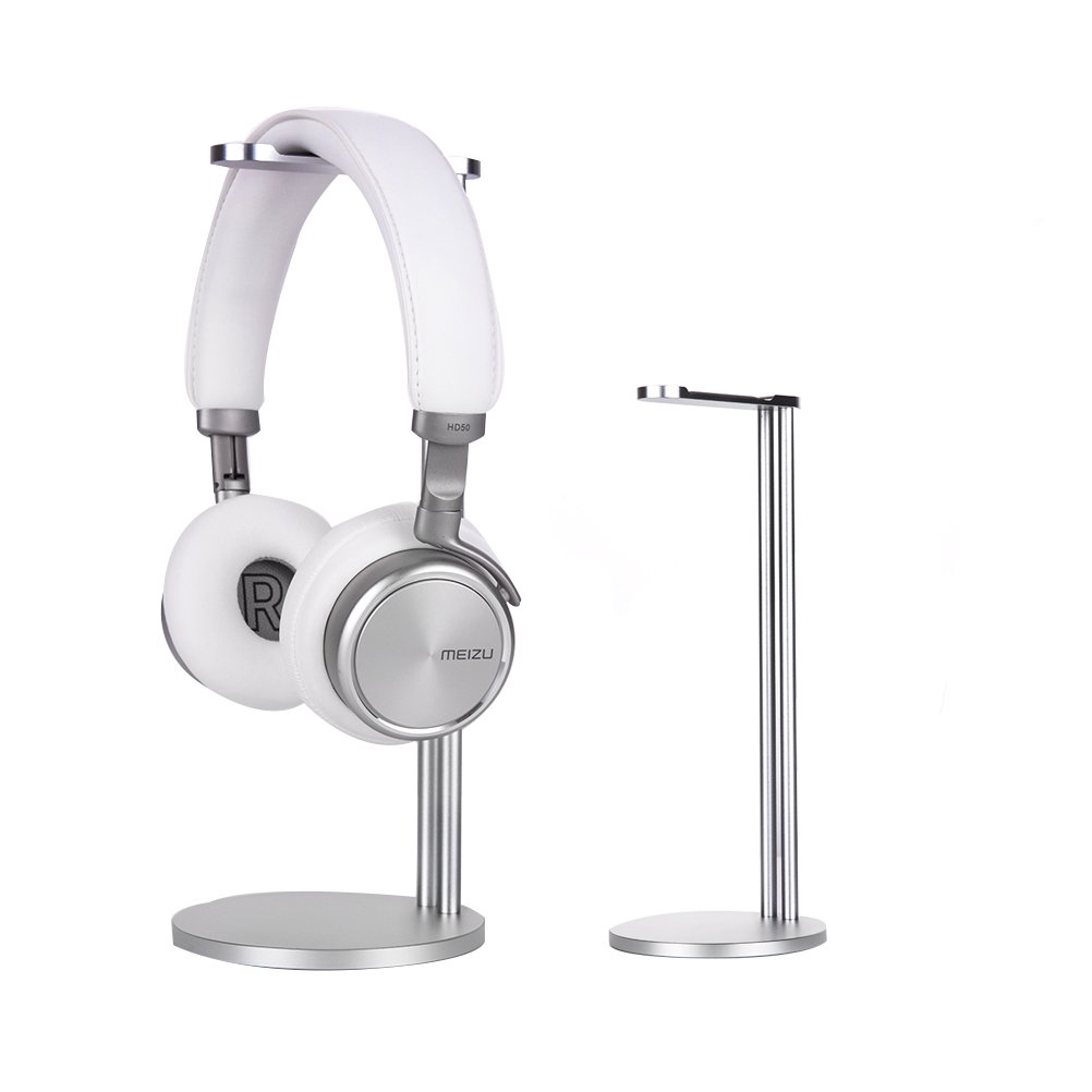 EletecPro Headphone Stand Holder,Universal Aluminum Alloy Gaming Headset earphone Holder Table Desk Display Rack Hanger Orgnizer Support For All Headphone Sizes (Silver)