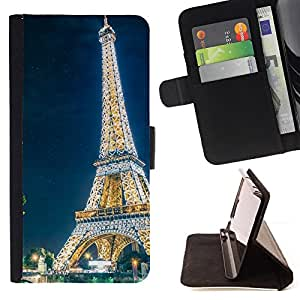 For Samsung Galaxy S6 EDGE Glowing Eiffel Tower Style PU Leather Case Wallet Flip Stand Flap Closure Cover