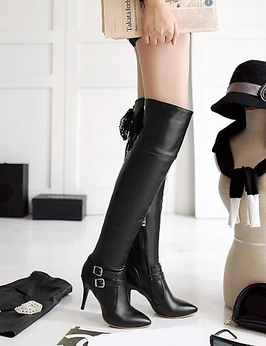 Vestido Puntiagudos Xzz Cn39 Moda Eu39 De Casual Uk6 Blanco White us8 Mujer Zapatos Negro Semicuero La Botas Stiletto A Tacón rfvrXp