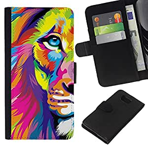 A-type (Art Poster Colorful Vibrant Animal) Colorida Impresión Funda Cuero Monedero Caja Bolsa Cubierta Caja Piel Card Slots Para Samsung ALPHA G850