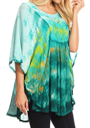Vert Tie Poncho Sakkas Multicolore Large Blouse Lepha Dye et brod Top Sequin Long xqqwXSZ7