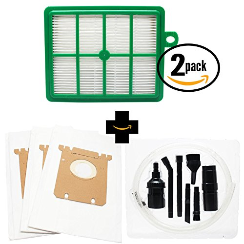 (3 Replacement Electrolux EL7061B Vacuum Bags & 2 Filter with 7-Piece Micro Vacuum Attachment Kit - Compatible Electrolux S-Bag Vacuum Bag & EL012B Filter)