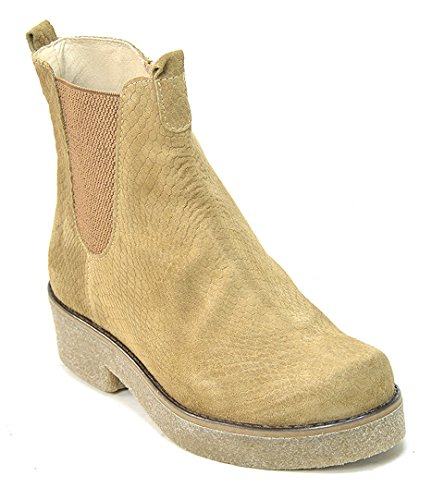 O.G.S. wide shoes Ogswideshoes Paola Beige Croco Boots Extra Wide,C Width, 3e Width (9 3E) (Crepe Sole Shoes)