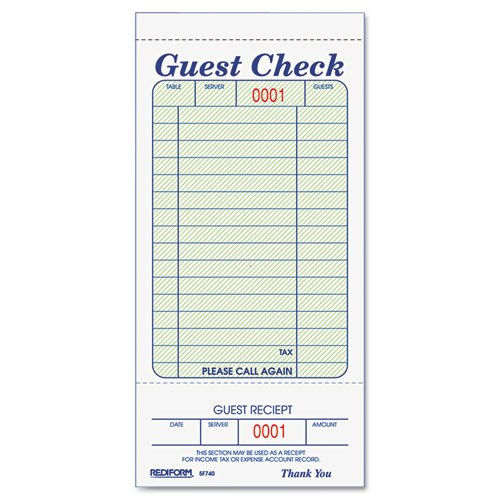 Guest Check Book, 3 3/8 X 6 1/2, Tear-Off At Bottom, 50/book By: Rediform