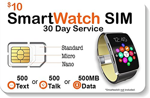Smart Watch SIM Card For 2G 3G 4G LTE GSM Smartwatches and Wearables - 30 Day Service - USA Canada & Mexico Roaming by SpeedTalk Mobile
