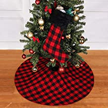 "VIAME [2 PCS] Christmas Tree Skirt & Christmas Stocking, 38.6"" Handmade Plaid Christmas Tree Skirt & Christmas Stocking - Fine Decorative Handicraft for Christmas Decoration"
