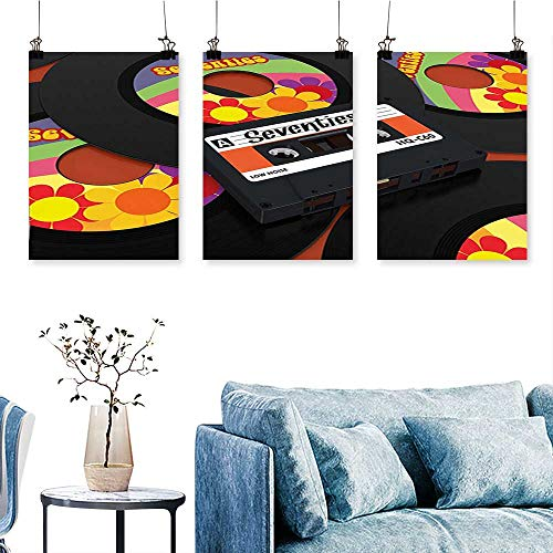(SCOCICI1588 3-Piece Modern Compact Cassette and Some Vinyl Records with Seventies Text Oldschool Multicol Print On Canvas No Frame 16 INCH X 40 INCH X 3PCS)