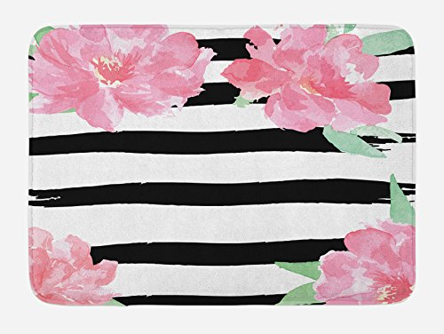 Pink Flowers with Black Stripes Small Throw Rug 29.5 x 17.5