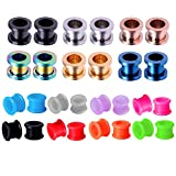 BodyJ4You 28PCS Gauge Plugs Tunnels 2G (6mm) Silicone Double Flare Steel Screw Fit Ear Expander