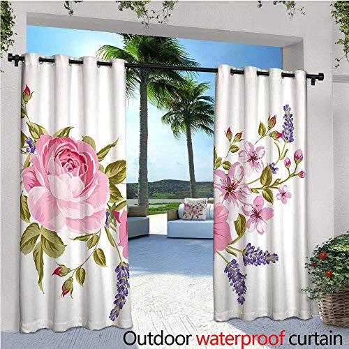 cobeDecor Lavender Indoor/Outdoor Single Panel Print Window Curtain Bridal Style Garland of Rose Sakura and Lavender Vintage Artistic Bouquet Flora Silver Grommet Top Drape W84 x L96 Multicolor