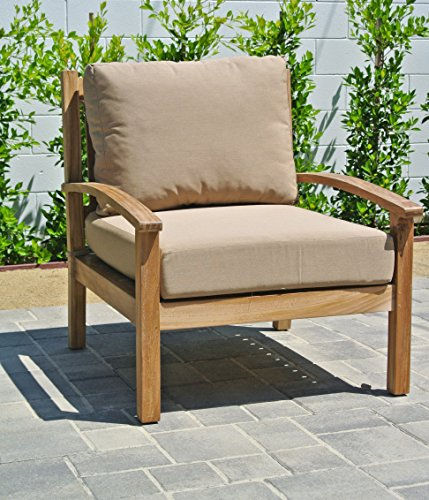 Willow Creek Designs Huntington Teak Club Chair with Sunb...