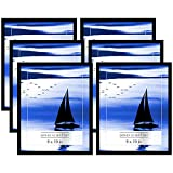 Americanflat 6 Pack - 8x10 Black Picture Frames with Glass Fronts