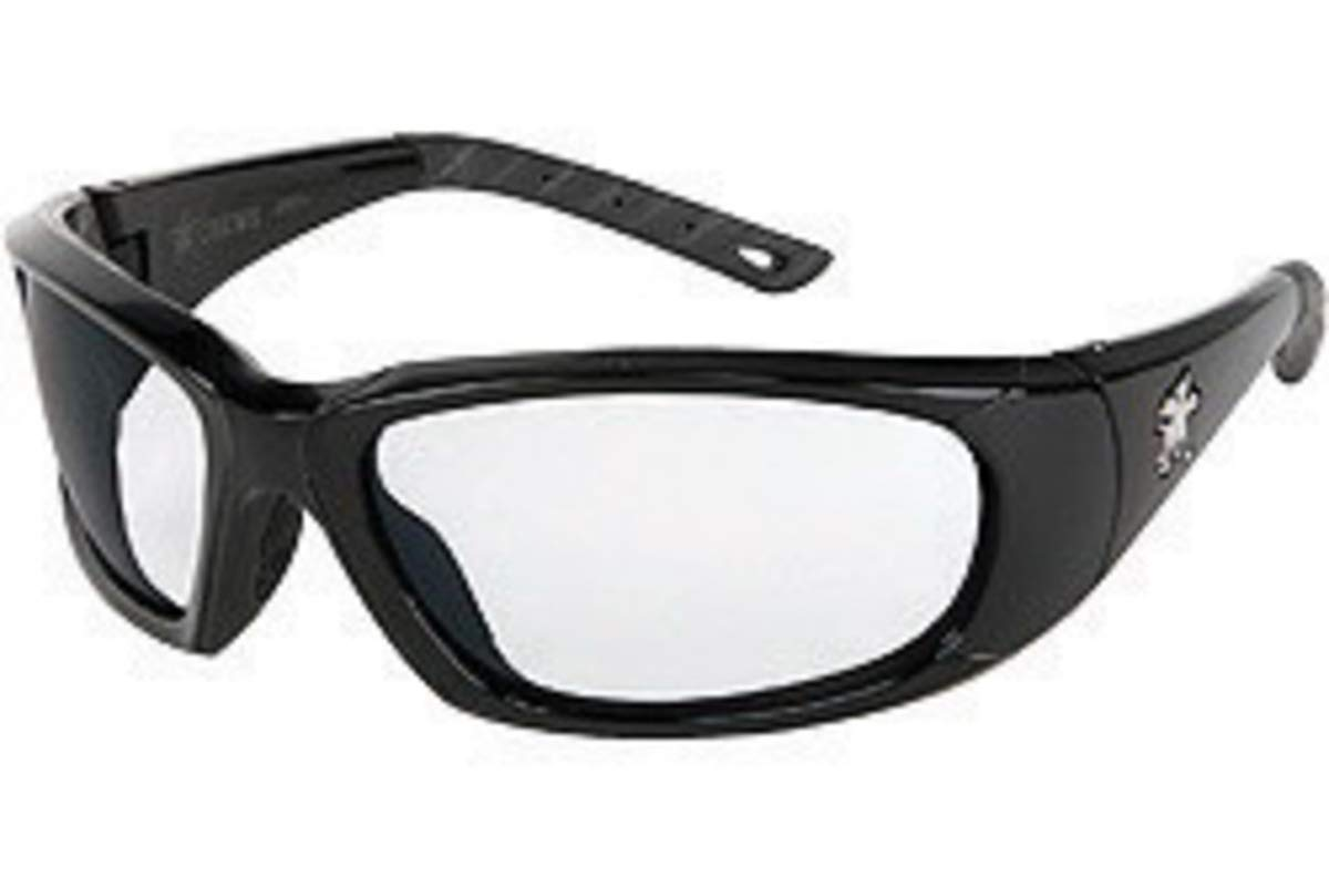 Crews ForceFlex Ultra-Flexible Regular Safety Glasses With Black Thermoplastic Urethane Frame, Gray Polycarbonate Anti-Fog Anti-Scratch Lens And Black Temple Sleeve