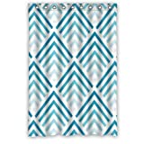 48(W)(H)-Inch Waterproof Bathroom Blue chevron Shower Curtain