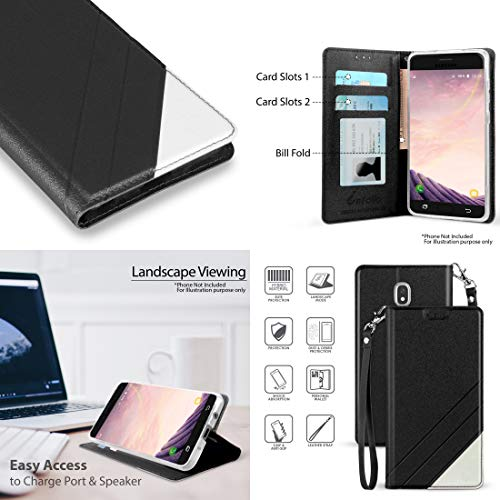 BC Synthetic PU Leather Magnetic Flip Cover Wallet Case (Black) with Tempered Glass Screen Protector and Atom Cloth for Samsung Galaxy Amp Prime 3 2018 (Cricket) by Bemz Depot (Image #1)