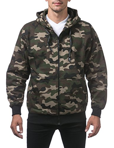 - Pro Club Men's Heavyweight Full Zip Fleece Hoodie, Green Camo, X-Large