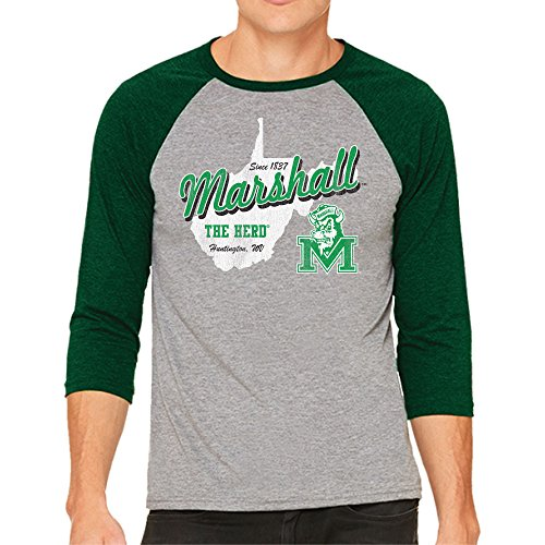 NCAA Marshall Thundering Herd Men's 3/4 Baseball Tee, Medium, Heather/Kelly Green