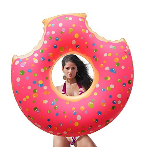 FairyStar Giant Inflatable Two-Bite Donut Pool Float ,Outdoor Swimming Pool Loung Tube Floatie Toys For Adults & Kids