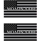Two Pack 4 Inch Subdued Molon Labe American Flag Sticker FA Graphix Decal Self Adhesive 2A United