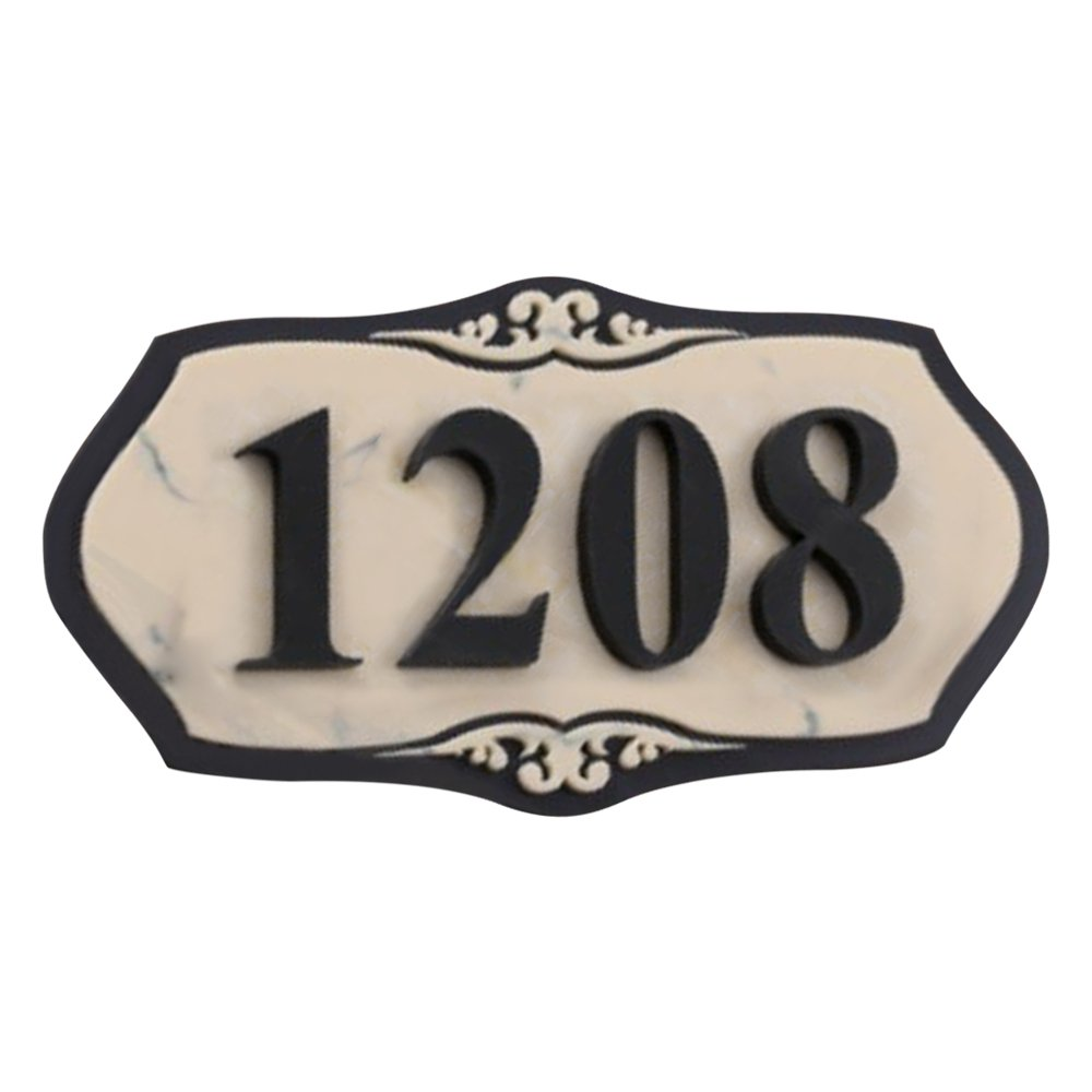 Aspire Customized Home Address Sign, House Hotel Office Number Sign, Personalized Acrylic Address Plaque Sign-Marble Pattern B-5'' L x 10'' W