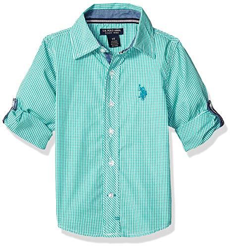 U.S. Polo Assn. Boys' Little Long Sleeve Gingham Woven Shirt, Tracksuit Green, 7