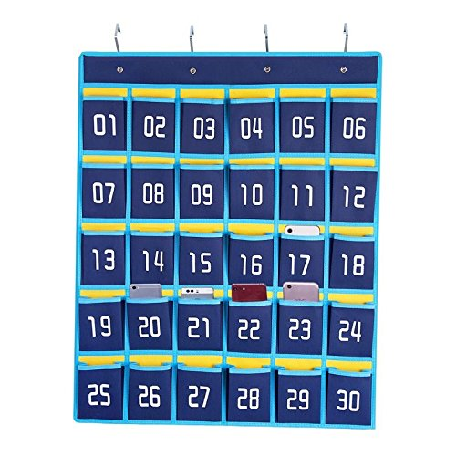 Numbered Pocket Chart Classroom Cell Phones and Calculators Holder Wall Door Hanging Organizer (30 Pockets)