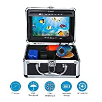 Fish Finder Professional Night Vision Underwater Fishing Camera IR LED with 7 TFT Color LCD Hd Video Monitor 1000tvl CCD 15M Cable Length in Carry Case, Fun to See Fish Biting (15m Depth No Dvr Function)