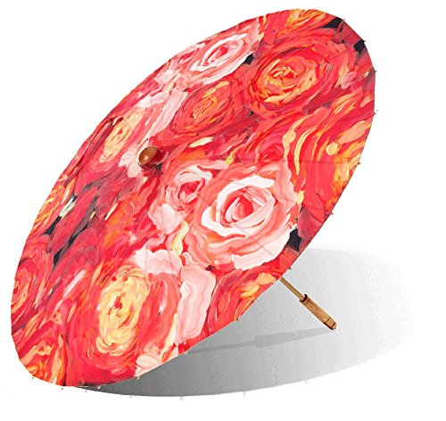 Lily-Lark Coral Roses UV protection sun parasol, rated UPF 50+ by Lily-Lark