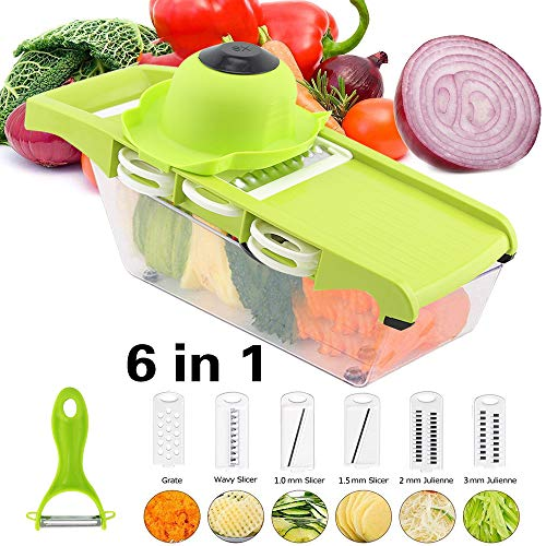 6 in 1 Multi-function Vegetable Slicer Kitchen Mandolin,Potato Chipper, Food Cutter with Storage Container and Peeler for Onion, Cucumber, Carrots, Fruits, Cheese - (Green)