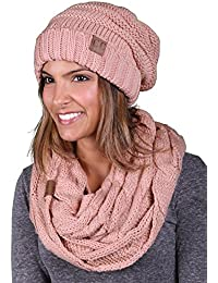 CC Oversized Slouchy Beanie Bundled with Matching Infinity Scarf