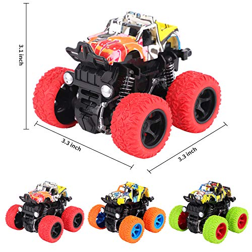 FiGoal 3 Pack Monster Toy Trucks Friction Powered Inertial Off-Road Toy Cars Vehicles for Boys and Toddlers Dinosaur Games Toys Gifts for Birthday Christmas Party Favor Teacher Classroom Prize