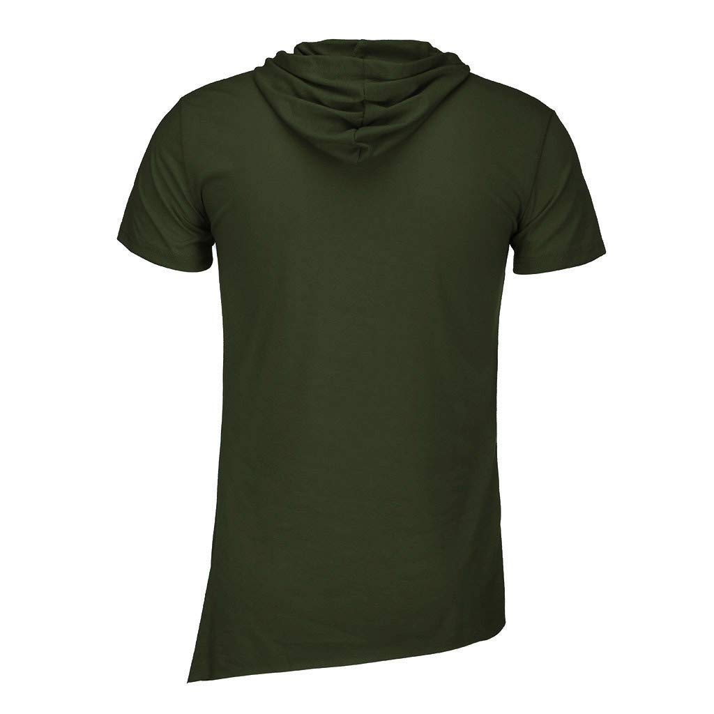 SPE969 Mens Solid Short Sleeve Hooded Shirts Paw Print Patterns Patchwork Tops Zippers Polo T-Shirt