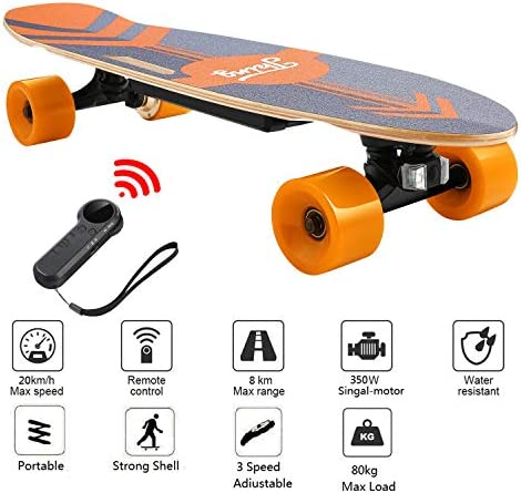 Nesaila 28inch Electric Skateboard 20 KM H Top Speed, 350W Singal Motor 7 Layers Maple E Skateboard with Wireless Remote Complete Cruiser for Adults and Youths