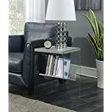 Convenience Concepts SoHo End Table, Faux Birch/Glass