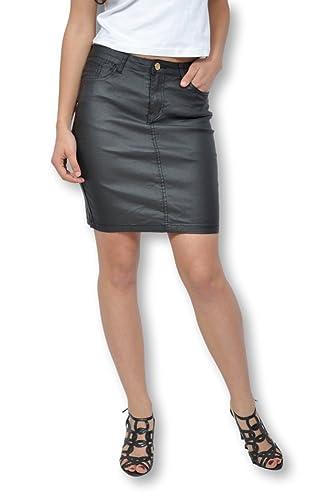 Falda para mujer efecto engrasado negra–Falda corta (Copa derecha