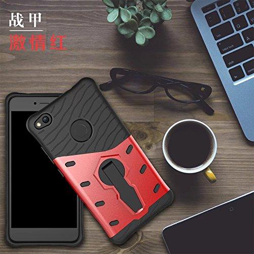 YAJIE-Carcasa Funda Para Huawei P8 Lite 2017 / Huawei Honor 8 Lite 2017, Híbrido resistente resistente blindaje de doble capa protectora a prueba de golpes con 360 grados de ajuste Kickstand cubierta  Red