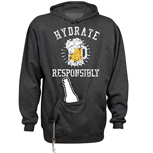 FUNNYSHIRTS.ORG Hydrate Responsibly: Unisex Beer Holder Tailgate Hoodie Charcoal Heather ()