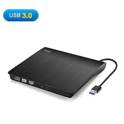 Cocopa - Unidad externa de CD/DVD, USB 3.0 CD DVD-RW, portátil, delgado, grabador de CD ...