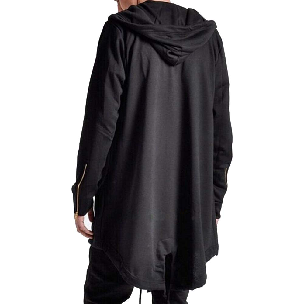Mens Hooded Cardigan Coat Open Edge Long Cloak Cape Loose Casual Jacket with Pockets