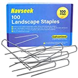 Navseek 100 Pack 6 Inch Galvanized Garden Stakes and Landscape Staples Sod Staples, Garden Staples Square Pins Sturdy Rust Resistant Fabric Anchor Pins (100)