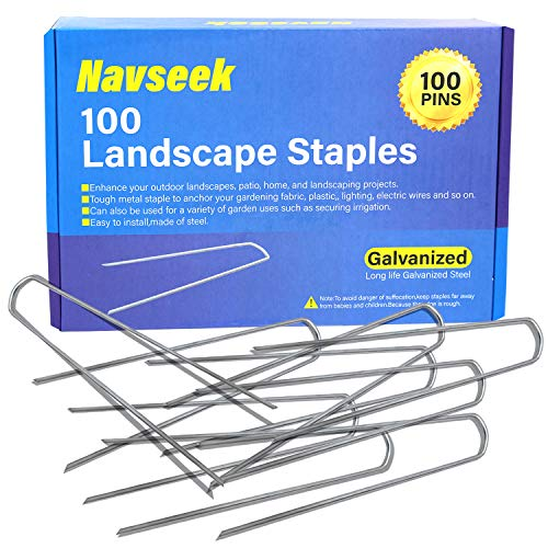 Navseek 100 Pack 6 Inch Galvanized Garden Stakes and Landscape Staples Sod Staples, Garden Staples Square Pins Sturdy Rust Resistant Fabric Anchor Pins (100) by Navseek