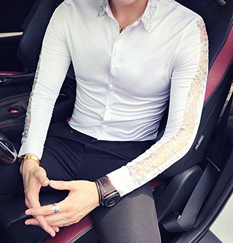 Camicia Paillettes Uomo Lunga Bianca Ouye Slim Bottoni Con Colletto Casual Manica Fit gwWPCE