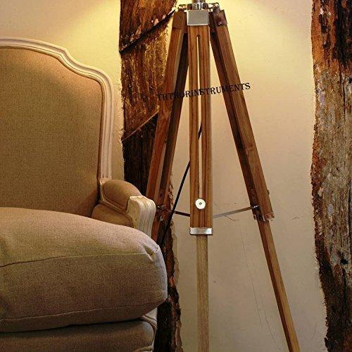 Vintage Classic Teak Wood Tripod Floor Lamp Nautical Floor Home Decor lamp