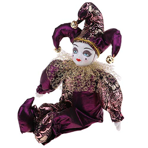 Fityle 30cm Pretty Italian Porcelain Triangel Doll in Purple Clothes Home Table Decoration]()